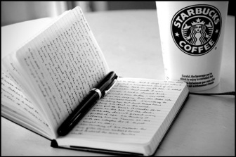 coffee shop hipster writing